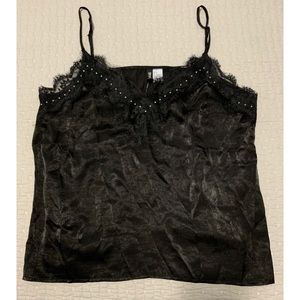 NWT Black Silky, Lace, Studded Tank Top